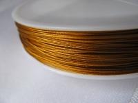 7 gijų plieninis troselis aukso spalvos 0,45mm, 1m