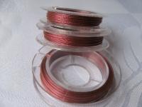 7 gijų plieninis troselis avietinis šviesus 0,38 mm, 10m