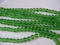 4mm stiklinių žalių karoliukų juosta