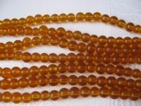 4mm stiklinių šviesiai rudų karoliukų juosta