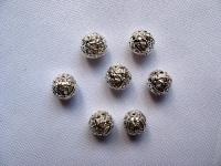 8 mm tuščiaviduris karoliukas sidabro spalvos, 1 vnt