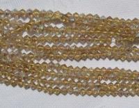 4 mm rombo formos stikl. geltonų su AB danga karoliukų juosta