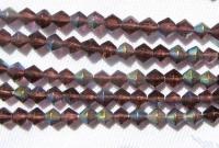 4 mm rombo formos stikl. violetinių su AB danga karoliukų juosta
