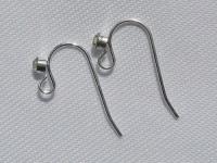 Varinis kabliukas auskarams su stiklo akute, sidabro spalvos, 2vnt