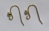 Varinis kabliukas auskarams su stiklo akute, aukso spalvos, 2vnt