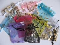 7x9cm organzos maišeliai įvairių spalvų, 5 vnt
